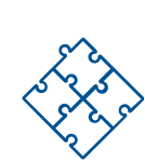 Icon of a blue puzzle with four pieces